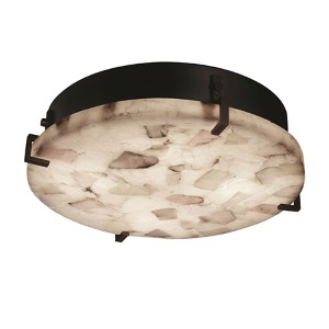 Alabaster Rocks Dark Bronze 12-Inch Wide LED Round Clips Flush Mount