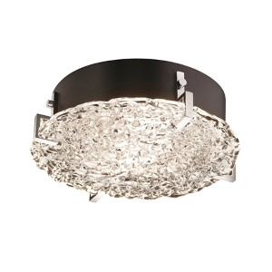 Veneto Luce Polished Chrome Two-Light 12-Inch Wide Fluorescent Round Clips Flush Mount with Lace Glass