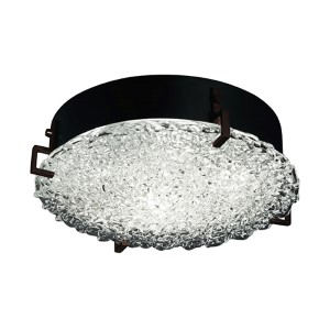 Veneto Luce Dark Bronze Two-Light 12-Inch Wide Fluorescent Round Clips Flush Mount with Lace Glass