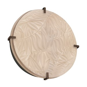 Porcelina Matte Black Four-Light 16-Inch Wide Fluorescent Round Clips Flush Mount with Bamboo Shade