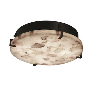Alabaster Rocks Dark Bronze 16-Inch Wide LED Round Clips Flush Mount