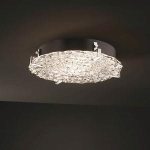 Veneto Luce Matte Black Four-Light 16-Inch Wide Fluorescent Round Clips Flush Mount with Lace Glass