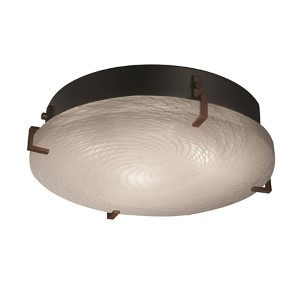 Fusion Matte Black Four-Light 16-Inch Wide Fluorescent Round Clips Flush Mount with Weave Glass