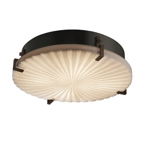 Porcelina Dark Bronze Four-Light 16-Inch Wide Fluorescent Round Clips Flush Mount with Waterfall Shade