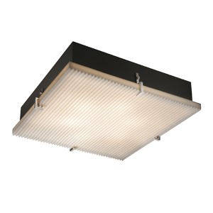 Porcelina Brushed Nickel Four-Light 16-Inch Wide Fluorescent Square Clips Flush Mount with Pleats Shade