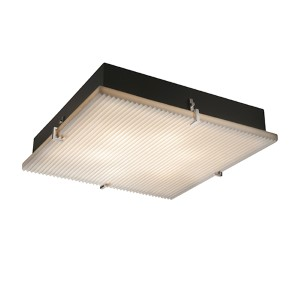 Porcelina Brushed Nickel Six-Light 24-Inch Wide Fluorescent Square Clips Flush Mount with Pleats Shade