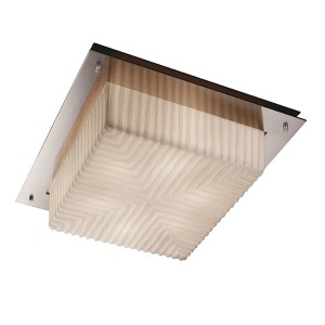 Porcelina Brushed Nickel Two-Light 12-Inch Wide Fluorescent Square Framed Flush Mount with Waterfall Shade