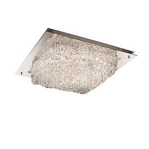 Veneto Luce Polished Chrome Four-Light 16-Inch Wide Fluorescent Square Framed Flush Mount with Lace Glass