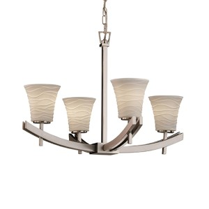 Limoges Polished Chrome Four-Light Round Flared Chandelier with Waves Shade