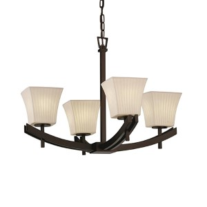 Limoges Polished Chrome Four-Light Square Flared Chandelier with Waterfall Shade