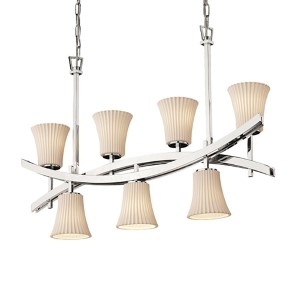 Limoges Polished Chrome Seven-Light Round Flared Crossbar Chandelier with Pleats Shade