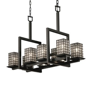 Wire Glass Matte Black 11-Light Flat Rim Square 8-Up and 3-Downlight Bridge Chandelier
