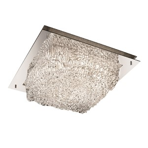 Veneto Luce Polished Chrome 12-Inch Wide LED Square Framed Flush Mount with Lace Glass