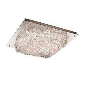 Veneto Luce Polished Chrome 16-Inch Wide LED Square Framed Flush Mount with Lace Glass