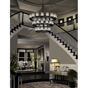 Wire Glass Matte Black 36-Light Flat Rim Cylinder Three-Tier Ring Inverted Chandelier