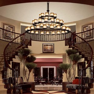 Fusion Dark Bronze 45-Light Flat Rim Cylinder Three-Tier Ring Chandelier with Caramel Glass
