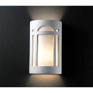 Ambiance Matte White Large Arch Window Two-Light Bathroom Wall Sconce