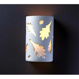 Ambiance Rust Patina Small Oak Leaves Bathroom Wall Sconce