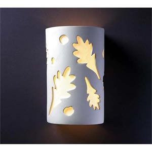 Ambiance Gloss White Large Oak Leaves Two-Light Bathroom Wall Sconce