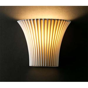 Small Pleated Porcelain Sconce
