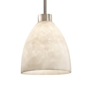 Clouds Brushed Nickel One-Light Short Tapered Cylinder Large Pendant