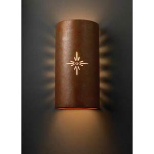 Sun Dagger Rust Sunburst Wall Sconce