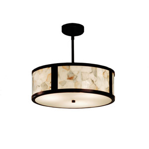 Alabaster Rocks! Dark Bronze 18-Inch LED Drum Pendant