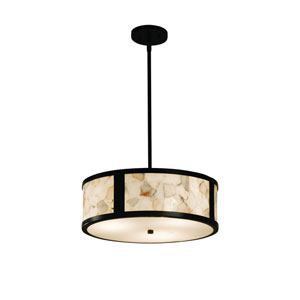 Alabaster Rocks!  Matte Black 18-Inch LED Drum Pendant