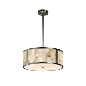 Alabaster Rocks! Brushed Nickel 18-Inch LED Drum Pendant