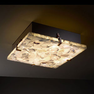 Alabaster Rocks! Clips 16-Inch Four-Light Fluorescent Dark Bronze Square 3000 Lumen LED Flush-Mount