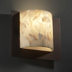 Alabaster Rocks! Fluorescent Framed Square Three-Sided 1000 Lumen LED Wall Sconce