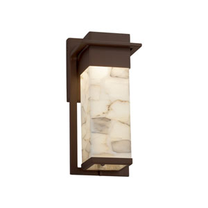 Alabaster Rocks! - Pacific Dark Bronze LED Outdoor Wall Sconce with Cream Shaved Alabaster Rocks