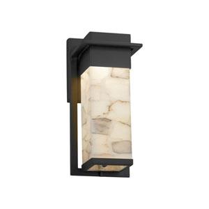 Alabaster Rocks! - Pacific Matte Black LED Outdoor Wall Sconce with Cream Shaved Alabaster Rocks