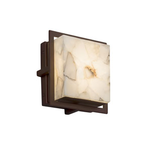 Alabaster Rocks! - Avalon Dark Bronze Seven-Inch LED Outdoor Wall Sconce with Cream Shaved Alabaster Rocks