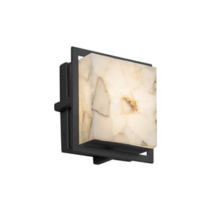Alabaster Rocks! - Avalon Matte Black Seven-Inch LED Outdoor Wall Sconce with Cream Shaved Alabaster Rocks