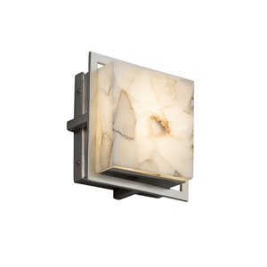 Alabaster Rocks! - Avalon Brushed Nickel Seven-Inch LED Outdoor Wall Sconce with Cream Shaved Alabaster Rocks