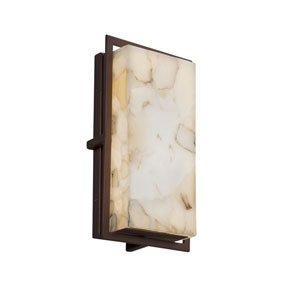 Alabaster Rocks! - Avalon Dark Bronze LED Outdoor Wall Sconce with Cream Shaved Alabaster Rocks