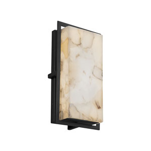 Alabaster Rocks! - Avalon Matte Black LED Outdoor Wall Sconce with Cream Shaved Alabaster Rocks