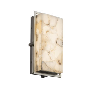 Alabaster Rocks! - Avalon Brushed Nickel LED Outdoor Wall Sconce with Cream Shaved Alabaster Rocks