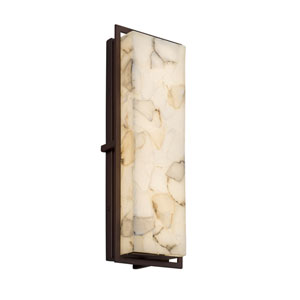Alabaster Rocks! - Avalon Dark Bronze 18-Inch LED Outdoor Wall Sconce with Cream Shaved Alabaster Rocks