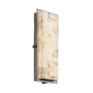 Alabaster Rocks! - Avalon Brushed Nickel 18-Inch LED Outdoor Wall Sconce with Cream Shaved Alabaster Rocks