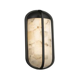 Alabaster Rocks! - Starboard Matte Black LED Outdoor Wall Sconce with Cream Shaved Alabaster Rocks