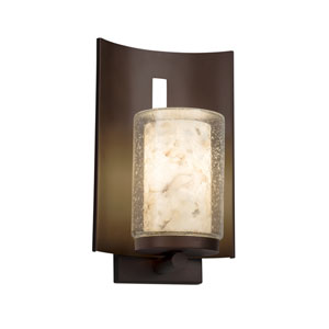Alabaster Rocks! - Embark Dark Bronze LED Outdoor Wall Sconce with Cream Shaved Alabaster Rocks