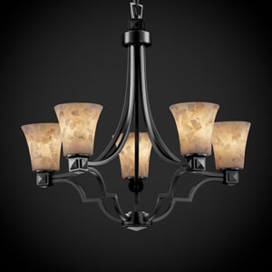 Alabaster Rocks! Argyle Five-Light Matte Black Chandelier