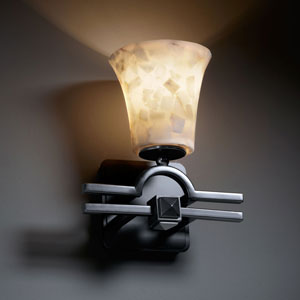 Alabaster Rocks! Argyle Matte Black Wall Sconce