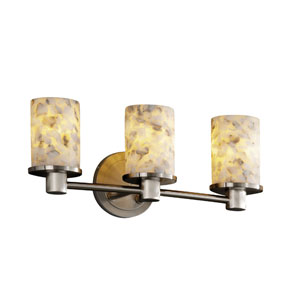 Alabaster Rocks! Rondo Three-Light Brushed Nickel Bath Fixture