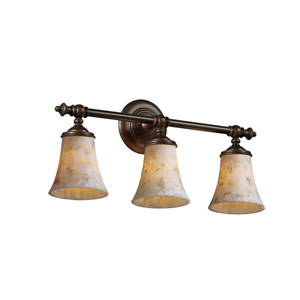 Alabaster Rocks! Tradition Three-Light Dark Bronze Bath Fixture
