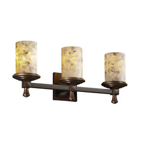 Alabaster Rocks! Deco Three-Light Dark Bronze Bath Fixture