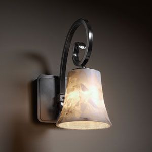Alabaster Rocks! Victoria Matte Black Wall Sconce