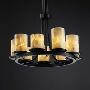 Alabaster Rocks! Dakota Matte Black Nine-Light Ring Chandelier